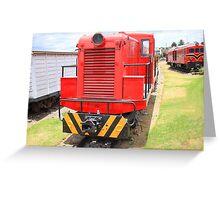 Trains in a Rail Yard Greeting Card