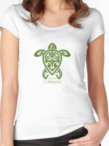 Green Tribal Turtle / Grand Cayman Women's Fitted Scoop T-Shirt