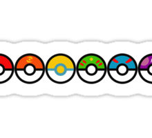 Rainbow Pokeballs v2 Sticker