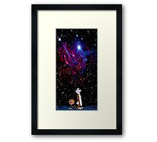 calvin and hobbes night sky Framed Print