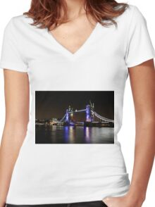 Tower Bridge, London night Women's Fitted V-Neck T-Shirt
