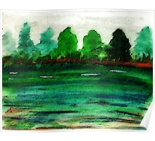 The lake is drying up, watercolor Poster