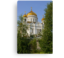 Moscow, temple of the Christ of the Savior,park Canvas Print