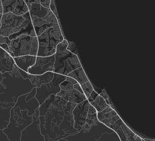 Gold Coast-Tweed Head, Australia Map. (White on black) Sticker