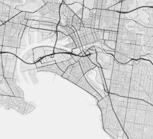 Melbourne, Australia Map. (Black on white) Sticker