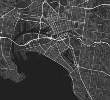 Melbourne, Australia Map. (White on black) Sticker