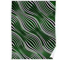 Optical illusions geometric pattern 9 green and black Poster