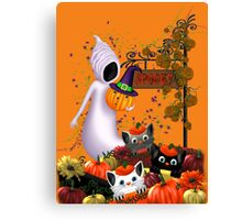 Halloween Cats and the Friendly Ghost Canvas Print