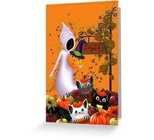 Halloween Cats and the Friendly Ghost Greeting Card