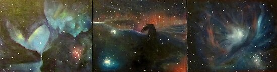 Nebula Triptych; Lagoon, Horsehead, Orion by Alizey Khan