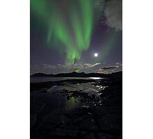 September Aurora & moon Photographic Print