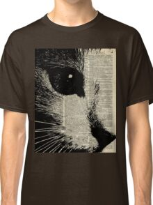 Cute Cat,Lovely Kitten Stencil Over Old Book Page Classic T-Shirt