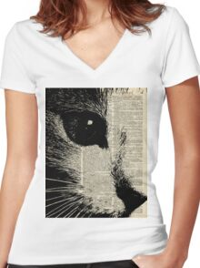 Cute Cat,Lovely Kitten Stencil Over Old Book Page Women's Fitted V-Neck T-Shirt