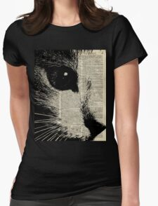 Cute Cat,Lovely Kitten Stencil Over Old Book Page Womens Fitted T-Shirt