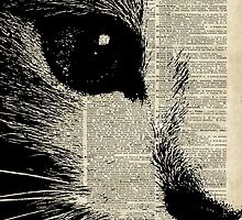 Cute Cat,Lovely Kitten Stencil Over Old Book Page by DictionaryArt