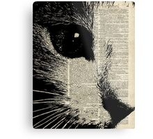 Cute Cat,Lovely Kitten Stencil Over Old Book Page Metal Print