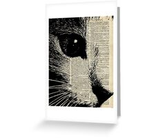 Cute Cat,Lovely Kitten Stencil Over Old Book Page Greeting Card