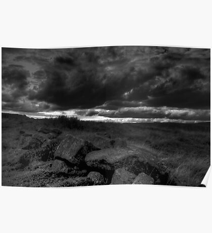 Rocks and Stormy Sky - The Peak District- United Kingdom Poster