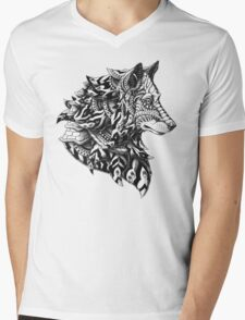 Wolf Profile Mens V-Neck T-Shirt