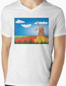 Windmill and Tulips 2 Mens V-Neck T-Shirt