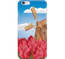 Windmill and Tulips 3 iPhone Case/Skin