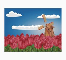 Windmill and Tulips 3 Kids Tee