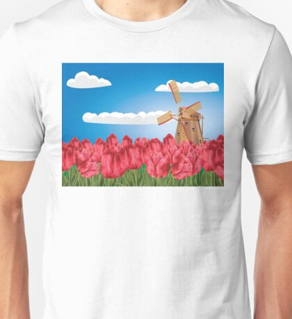 Windmill and Tulips 3 Unisex T-Shirt