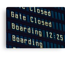 Airport information board. Canvas Print
