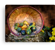 Pumpkins, Gourds & Squash - Wooden Bushel on Hay Bale - Fall Autumn Harvest Canvas Print