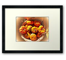 Dreamy Fall Autumn Harvest - Vignette Photo of Small Pumpkins in a Wicker Basket at the Market Framed Print