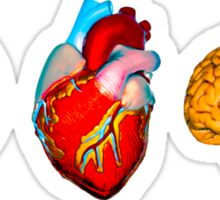 I love Brains,eye,heart,brains, zombie need to feed Sticker