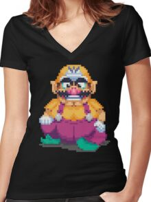 Laughing wario Women's Fitted V-Neck T-Shirt