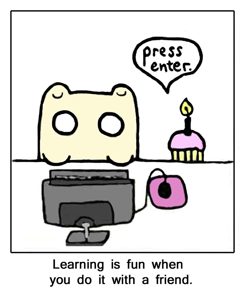 Cup-cake and hamster learn I.T.  by DoodleDesigns