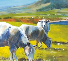 Shadowlands (detail) - Acrylic Painting of Sheep on a Cliff by MikeJory