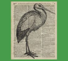 Stork Wild Bird Vintage Ink Illustration Encyclopedia Collage One Piece - Short Sleeve