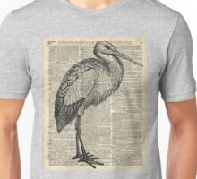 Stork Wild Bird Vintage Ink Illustration Encyclopedia Collage Unisex T-Shirt