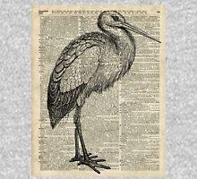Stork Wild Bird Vintage Ink Illustration Encyclopedia Collage Unisex T-Shirt