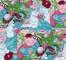 seamless pattern of doodle of crazy sea-life creatures having fun 2 by Nadiiaz