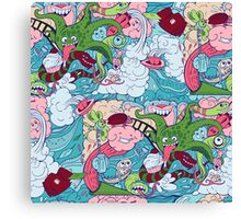 seamless pattern of doodle of crazy sea-life creatures having fun 2 Canvas Print