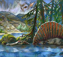 Spinosaurus in the water by kira-culufin