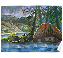 Spinosaurus in the water Poster