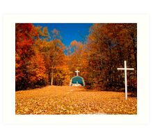 Leaf Covered Path - Fall Autumn Scenes - Cemetery Altar & Cross Art Print