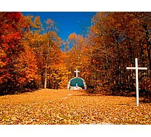 Leaf Covered Path - Fall Autumn Scenes - Cemetery Altar & Cross Photographic Print