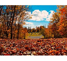 Fall Autumn Time – Orange Leaf Covered Path to Rural Graveyard w/ Cross & Depth of Field Photographic Print