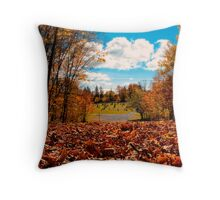 Fall Autumn Time – Orange Leaf Covered Path to Rural Graveyard w/ Cross & Depth of Field Throw Pillow