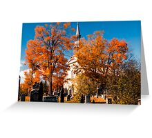 New England Style Church in Fall Autumn Cemetery with Orange Leaves, Trees & Tombstones Greeting Card