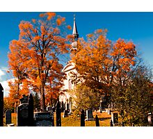 New England Style Church in Fall Autumn Cemetery with Orange Leaves, Trees & Tombstones Photographic Print