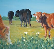 Come On Keep Up - Acrylic Cow and Landscape Painting by MikeJory