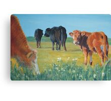 Come On Keep Up - Acrylic Cow and Landscape Painting Canvas Print