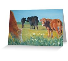 Come On Keep Up - Acrylic Cow and Landscape Painting Greeting Card